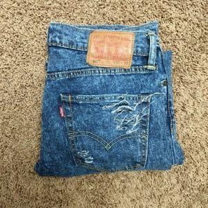 Levi's 511 Distressed Acid Wash Slim Fit Jeans